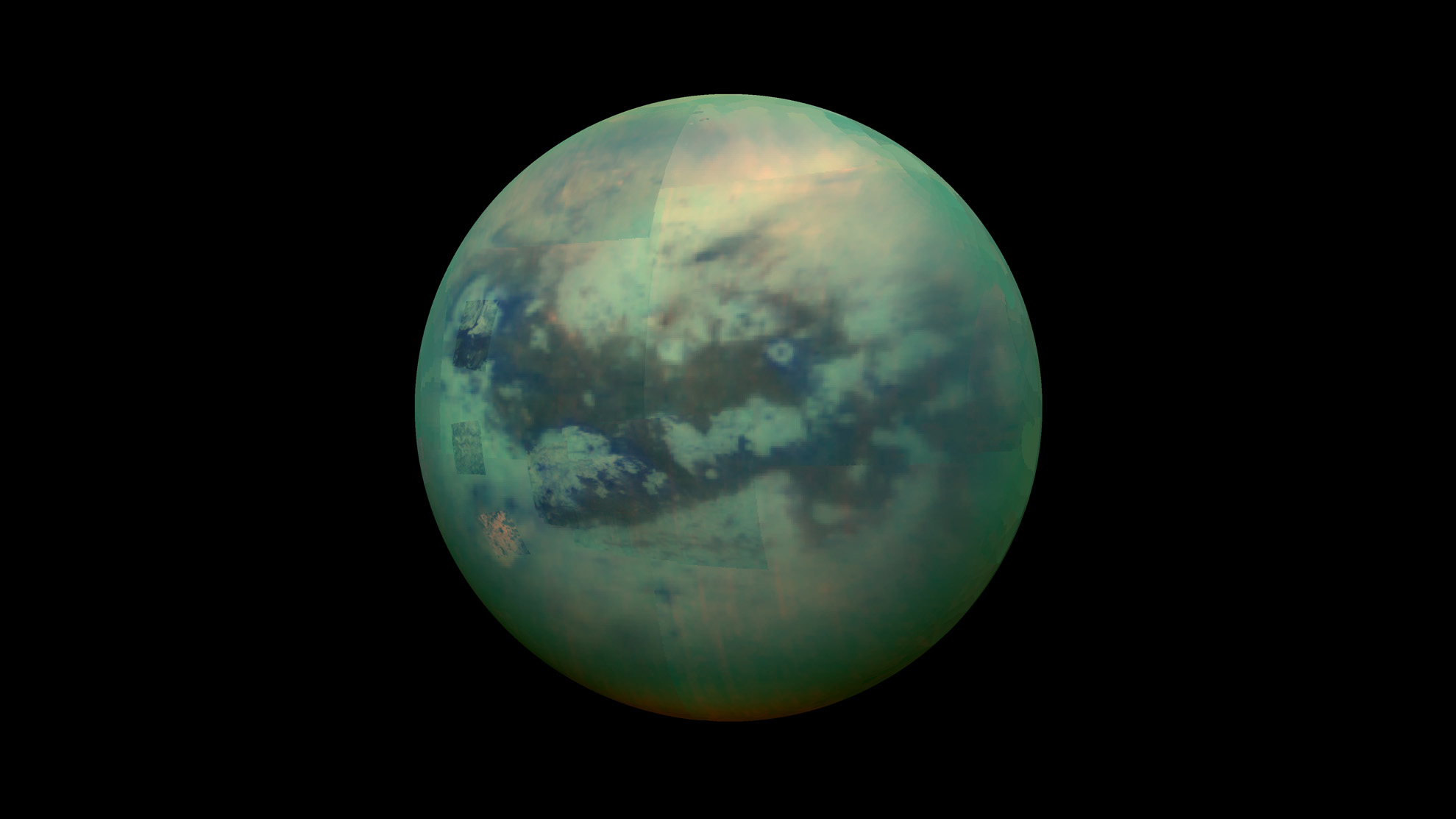A false-color view of Titan, a moon of Saturn surrounded by a thick orange haze. Titan is believed to contain an ocean with an icy crust on top, which will be simulated in future research. Image credit: NASA/JPL-Caltech/Space Science Institute