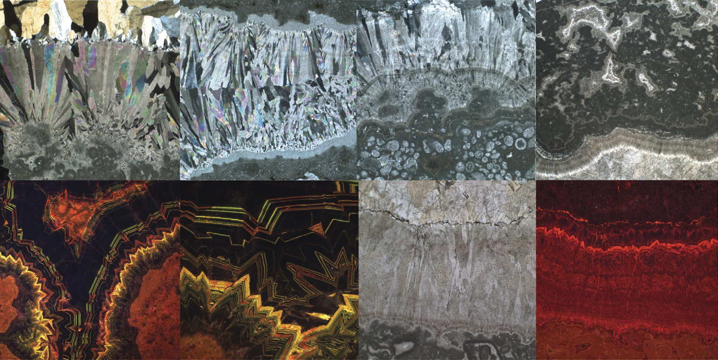 Images of carbonate components in marine cements from the Balcanoona reef in South Australia. Source: A. Hood, et. al., via Geological Society of America. Image credit: None