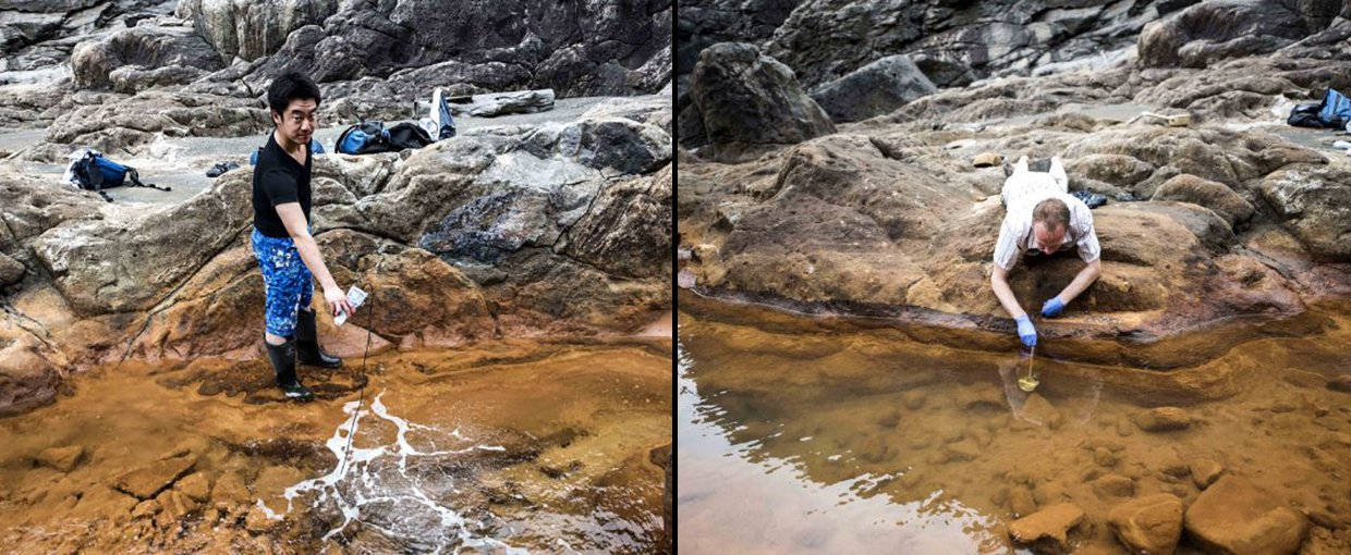 Tomohiro Mochizuki at collecting samples directly from the spot where 160 degree F water pushes up through the rock at Jinata hot spring (Left). Shawn McGlynn scoops some iron-rich water from a channel on Shikine-jima Island, 100 miles from Tokyo (Right).