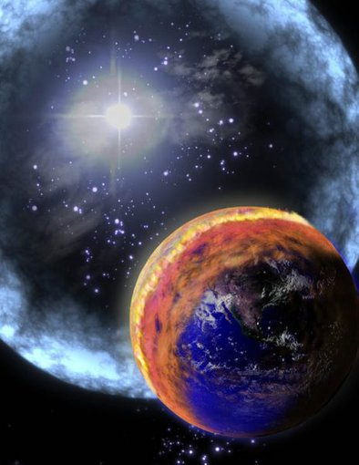 Artist's impression of a gamma ray burst hitting the Earth. The gamma rays would trigger changes in the Earth's atmosphere. Credit: NASA