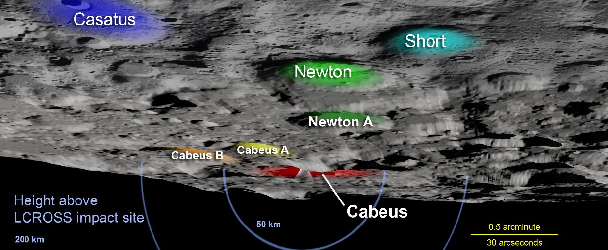 Key lunar landmarks used to locate Cabeus crater, the site of the LCROSS crash.