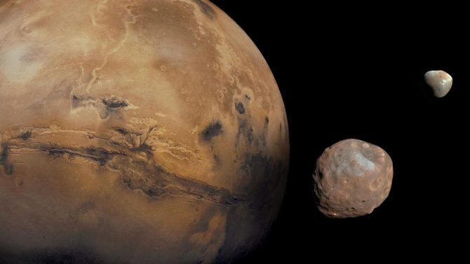 Illustration of Mars with its two moons, Phobos and Deimos. (NASA/JPL-Caltech/Malin Space Science Systems/Texas A&M Univ.)