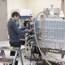 Christian Fischer, from the University of Stuttgart's Institute for Space Systems, works on the Field-Imaging Far-Infrared Line Spectrometer, or FIFI-LS, in the NASA SOFIA science laboratory prior to testing in preparation for the first observing flights.
