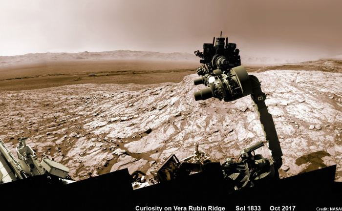 NASA's Curiosity rover raised robotic arm with drill pointed skyward while exploring Vera Rubin Ridge at the base of Mount Sharp inside Gale Crater. This navcam camera mosaic was stitched from raw images taken on Sol 1833, Oct. 2, 2017 and colorized.