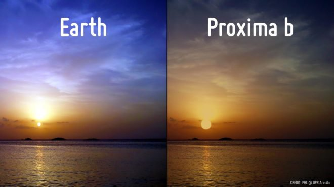 "A simulated comparison of a sunset on Earth and Proxima b. The images sets out to show that the red-dwarf star Proxima Centauri appears almost three times bigger than our sun in a redder and darker sky. There is value in illustrating how conditions in different solar systems would change physical conditions on the planets, but there is a real danger that the message conveyed becomes the similarities between planets such as Earth and Proxima b. At this point, there is no evidence that Proxima b is ""Earth-like"" at all. The original photo of the beach was taken at Playa Puerto Nuevo in Vega Baja, Puerto Rico. (PHL @ UPR Arecibo)"