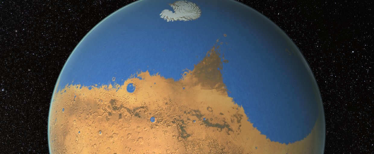 NASA scientists have determined that a primitive ocean on Mars held more water than Earth's Arctic Ocean and that the Red Planet has lost 87 percent of that water to space.. NASA/GSFC
