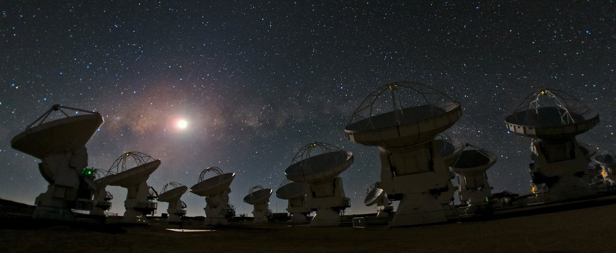 This panoramic view of Chajnantor shows the antennas of the Atacama Large Millimeter/submillimeter Array (ALMA) against a starry night sky.