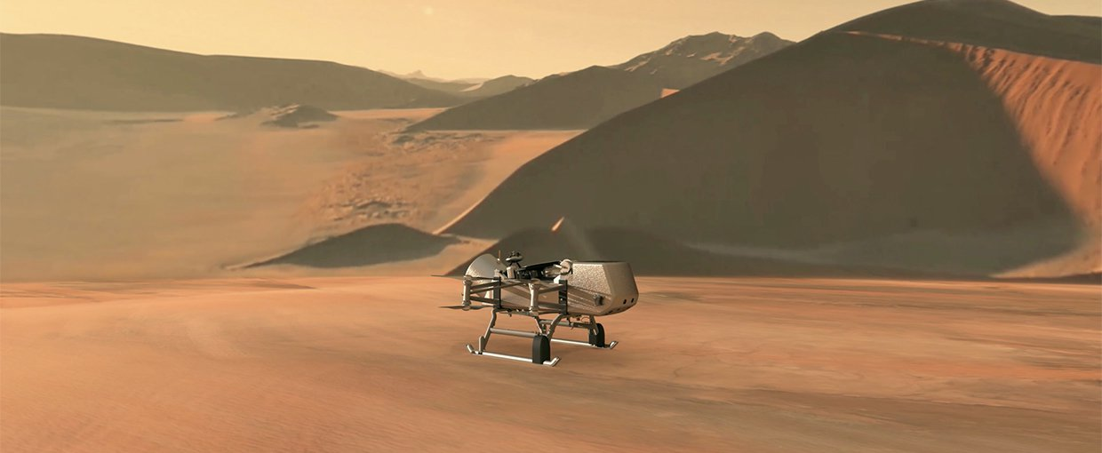 This illustration shows NASA's Dragonfly rotorcraft-lander approaching a site on Saturn's exotic moon, Titan.