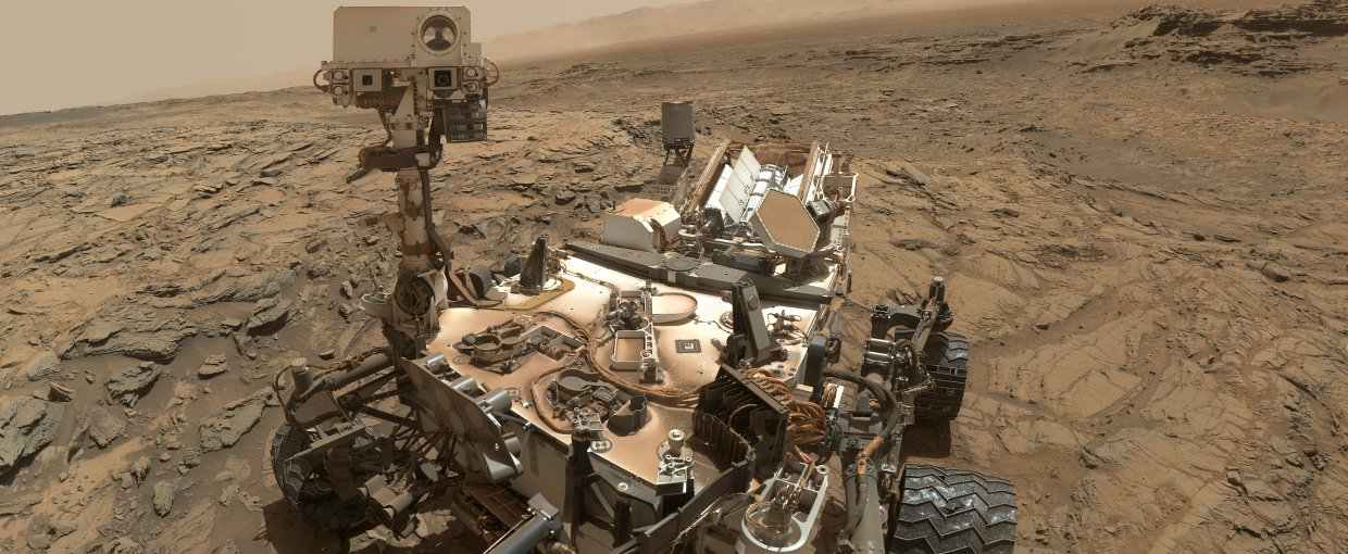"This self-portrait of NASA's Curiosity Mars rover shows the vehicle at the ""Big Sky"" site, where its drill collected the mission's fifth taste of Mount Sharp."