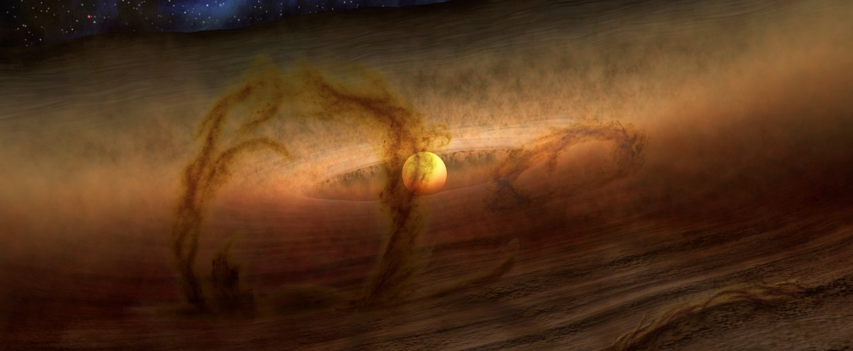Magnetic loops carry gas and dust above disks of planet-forming material circling stars, as shown in this artist's conception. Credits: NASA/JPL-Caltech