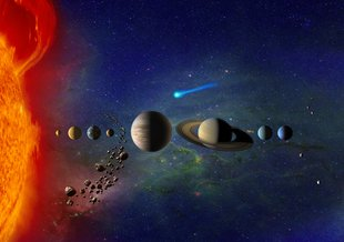 Artist illustration of the Solar System.