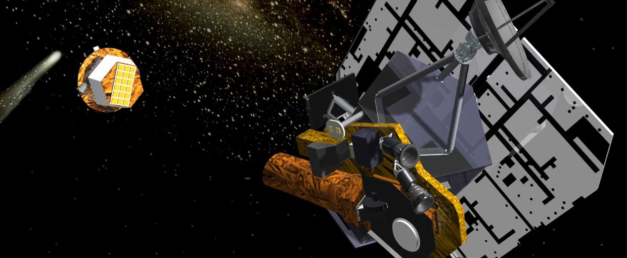 This is an artist's rendition of the flyby spacecraft releasing the impactor, 24 hours before the impact event. Pictured from left to right are comet Tempel 1, the impactor, and the flyby spacecraft.