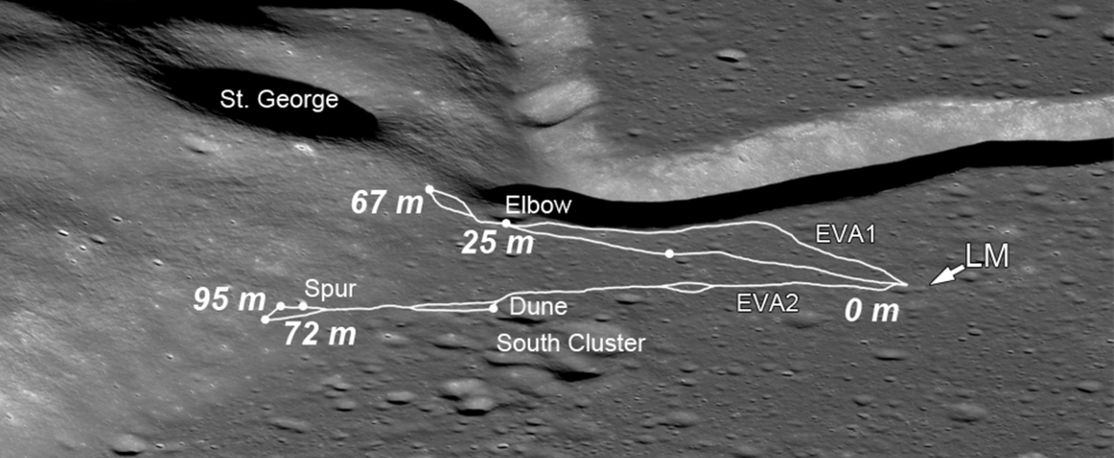 This image from NASA's Lunar Reconnaissance Orbiter shows the area surrounding Apollo 15's landing site.