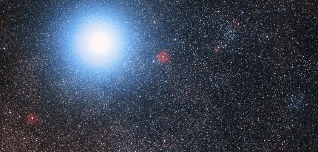 This image of the sky around the bright star Alpha Centauri AB also shows the much fainter red dwarf star, Proxima Centauri, the closest star to the Solar System. Proxima Centauri has an Earth-size planet that orbits in the habitable zone.