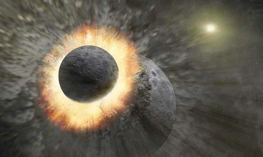 Artist impression of the Moon-forming event.