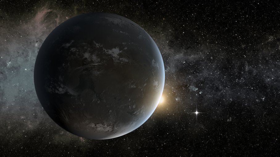 Artist representation of Kepler 62f, an exoplanet detected with the Kepler Space Telescope.  Modelers think the planet could be a rocky world with water, and potentially habitable.   Image credit: NASA Ames/JPL-CalTech