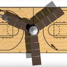 Juno spacecraft compared to a regulation basketball court.