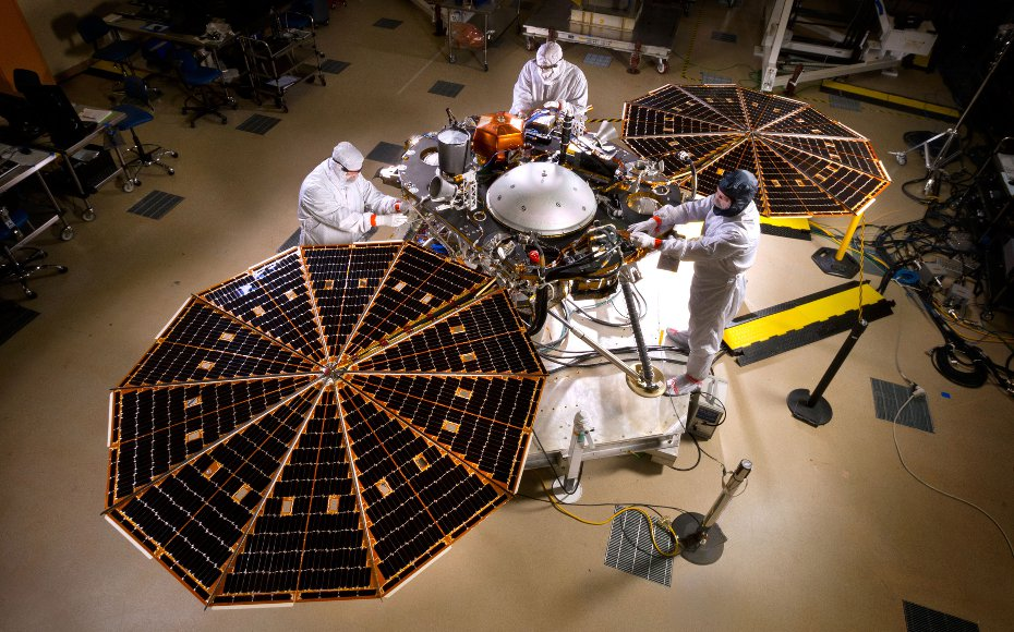 The solar arrays on NASA's InSight lander are deployed in this test inside a clean room at Lockheed Martin Space Systems, Denver. This configuration is how the spacecraft will look on the surface of Mars. The image was taken on April 30, 2015.