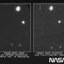 On the right is part of the first image taken with NASA's Hubble Space Telescope's (HST) Wide Field/Planetary Camera. It is shown with a ground-based picture from Las Campanas, Chile, Observatory of the same region of the sky. Credit: NASA, ESA, and STScI