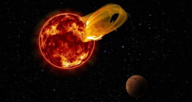 An artist's impression of a flaring red dwarf star and a nearby planet.