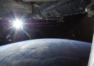 Sunlight fuels most of today's life and likely aided in the development of larger, complex molecules necessary for primitive life. Pictured is the Earth as seen from the International Space Station.