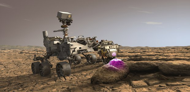 In this illustration, NASA's Perseverance Mars rover uses the Planetary Instrument for X-ray Lithochemistry (PIXL). The X-ray spectrometer will help search for signs of ancient microbial life in rocks.