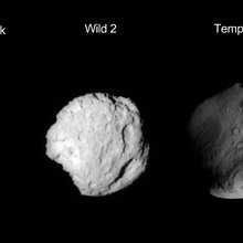 This composite image shows the three worlds NASA's Stardust spacecraft encountered during its 12 year mission. The flyby of asteroid Annefrank came on Nov.2, 2002, Comet Wild 2 on Jan. 2, 2004, and comet Tempel 1 on Feb. 14, 2011.
