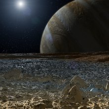 This artist's concept shows a simulated view from the surface of Jupiter's moon Europa.