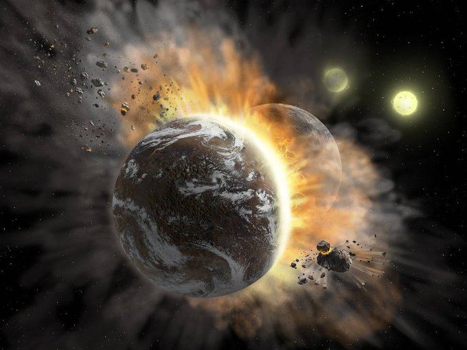 Artist's concept illustrating a catastrophic collision between two rocky exoplanets in the planetary system BD +20 307, turning both into dusty debris.