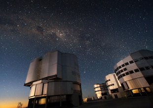 The Very Large Telescope (VLT) at ESO's Cerro Paranal observing site. Located in the Atacama Desert of Chile, the site is over 2600 metres above sea level, providing incredibly dry, dark viewing conditions.