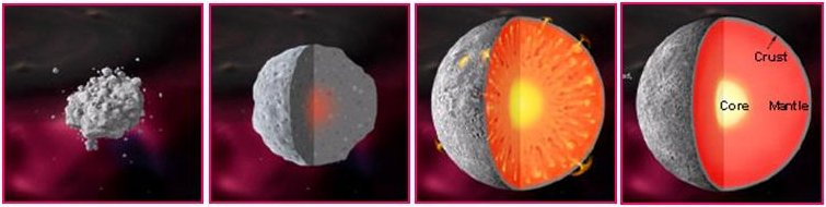 When an asteroid or a protoplanet accretes enough material, it will start to become roughly spherical. The heaviest material sinks into the core, and the body becomes split up into the core, mantle, and crust. This process is known as differentiation.