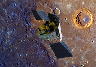 A depiction of the MESSENGER spacecraft flying over Mercury's surface, displayed in enhanced color.