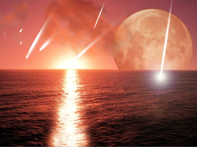 Artist impression of meteorites falling on the early Earth.