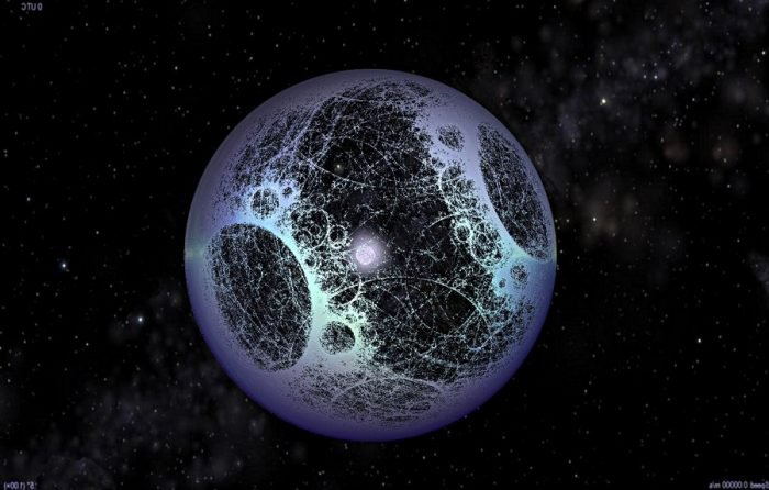 A rendering of a potential Dyson sphere, named after Freeman A. Dyson. As proposed by the physicist and astromomer decades ago, they would collect solar energy on a solar system wide scale for highly advanced civilizations.