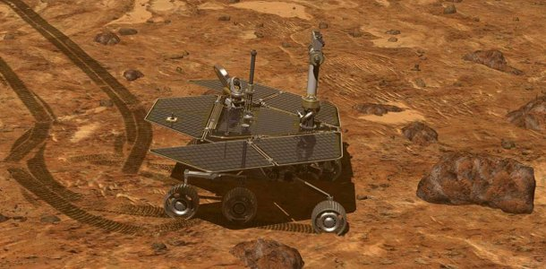 Controlling the rover from Earth, scientists drive the rover along Mars' surface inspecting geological features. Credit: NASA/JPL