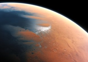 An artist's impression of what Mars might have looked like with water, when any potential Martian microbes would have evolved.