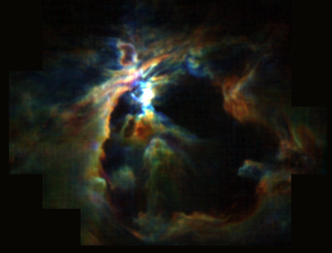 The powerful wind from the newly formed star at the heart of the Orion Nebula is creating the bubble (black) and preventing new stars from forming in its neighborhood.