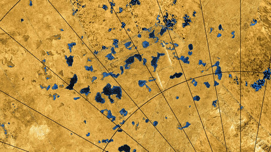Radar images from NASA's Cassini spacecraft reveal many lakes on Titan's surface, some filled with liquid hydrocarbons, and some appearing as empty depressions.