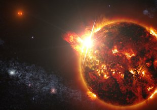 Artist illustration of a red dwarf star as it unleashes a series of powerful flares.
