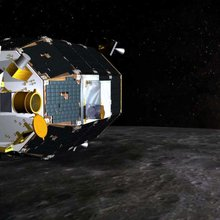 Artist impression of LADEE above the lunar surface.