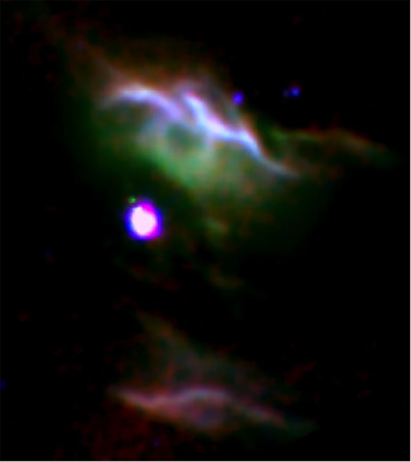 Combination of three color images of NGC 7023 from SOFIA (red & green) and Spitzer (blue) show different populations of PAH molecules.
