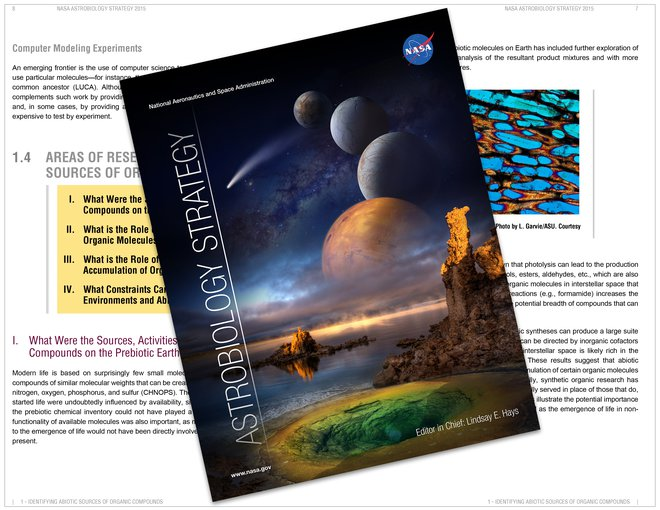 "The <a href=""https://astrobiology.nasa.gov/research/astrobiology-at-nasa/astrobiology-strategy/"" target=""_blank"">2015 Astrobiology Strategy</a> identifies questions to guide and inspire astrobiology research in the lab, in the field, and in experiments flown on planetary science missions over the next decade."