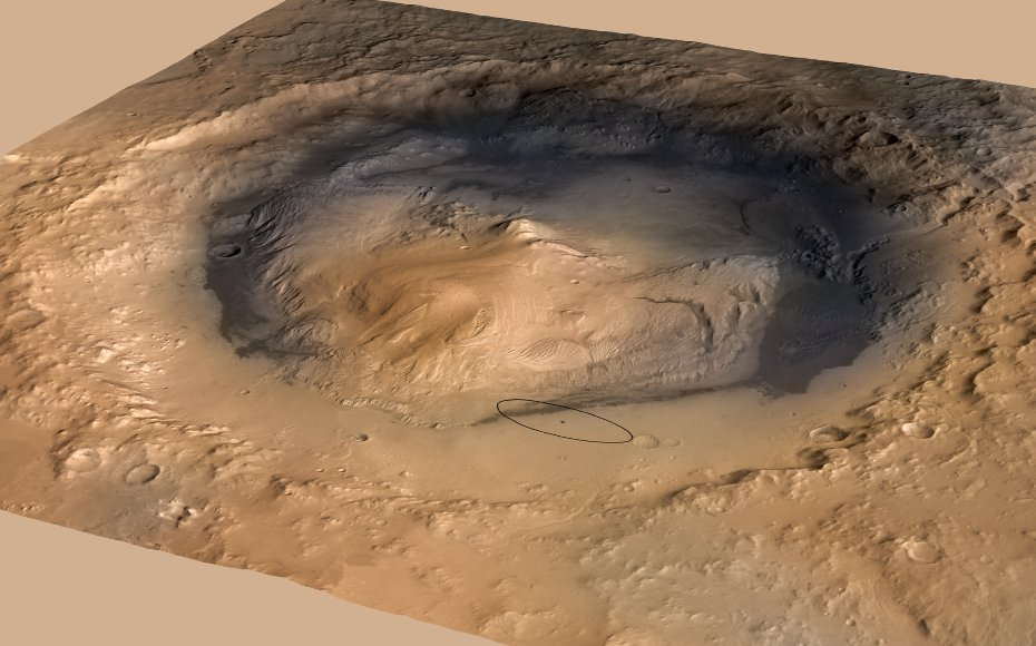 Gale Crater, the landing site of NASA's Curiosity rover.