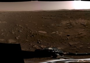 This panorama, taken on Feb. 20, 2021, by the Navigation Cameras, or Navcams, aboard NASA's Perseverance Mars rover, was stitched together from six individual images after they were sent back to Earth.