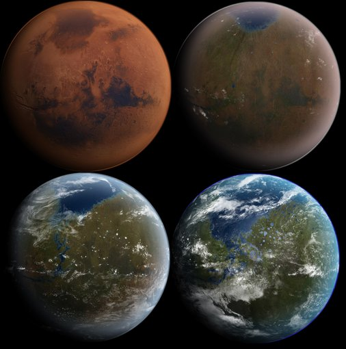 An artist rendering of what Mars might look like over time if efforts were made to give it an artificial magnetic field to then enrich its atmosphere and made it more hospitable to human explorers and scientists. (NASA)