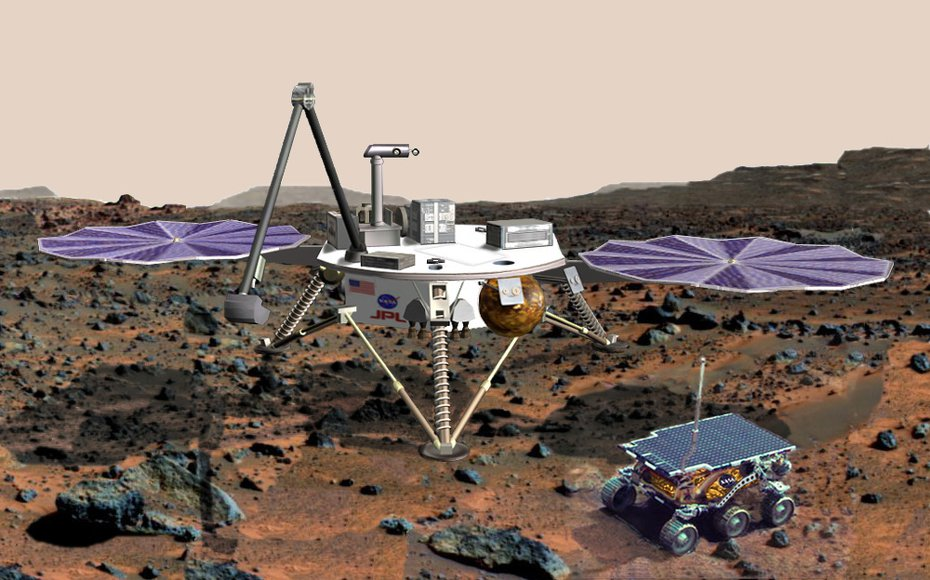Artist Impression of the Mars Surveyor 2001 Lander with the Marie Curie rover. The mission was almost completed, but never sent to Mars.