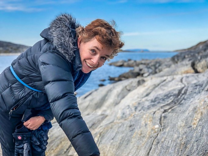 Abby Allwood outside of Nuuk, Greenland. She is a geologist and astrobiologist who specializes in faint signatures of ancient life detected through analysis of chemicals and rock textures.
