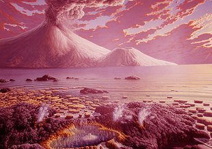 Artist illustration of the early Earth.