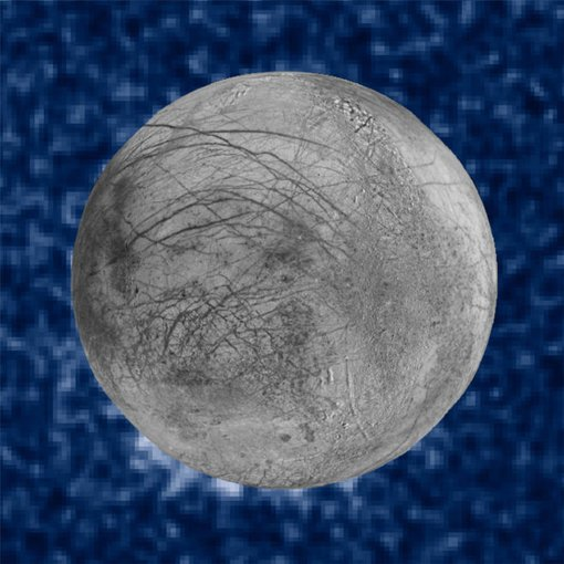 This composite image shows suspected plumes of water vapor erupting at the 7 o'clock position off the limb of Jupiter's moon Europa. The Hubble data were taken on January 2014, and appear to show plumes that spit out as much as 125 miles.  The image of Europa, superimposed on the Hubble data, is assembled from data from the Galileo and Voyager missions. (NASA/ESA/W. Sparks (STScI)/USGS Astrogeology Science Center)