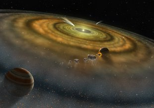 Artist's conception of the dust and gas surrounding a newly formed planetary system.